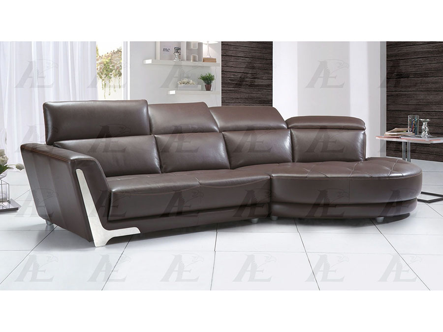Modern 2Pcs Dark Brown Leather Left Chaise Sectional Sofa Set - Shop ...