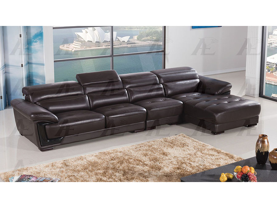 Modern 3pcs dark chocolate leather left chaise sectional for Affordable furniture 3 piece sectional in jesse cocoa