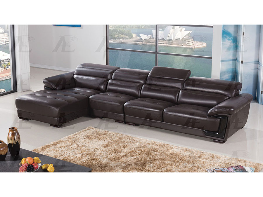 Modern 3pcs Dark Chocolate Leather Right Chaise Sectional Sofa Set