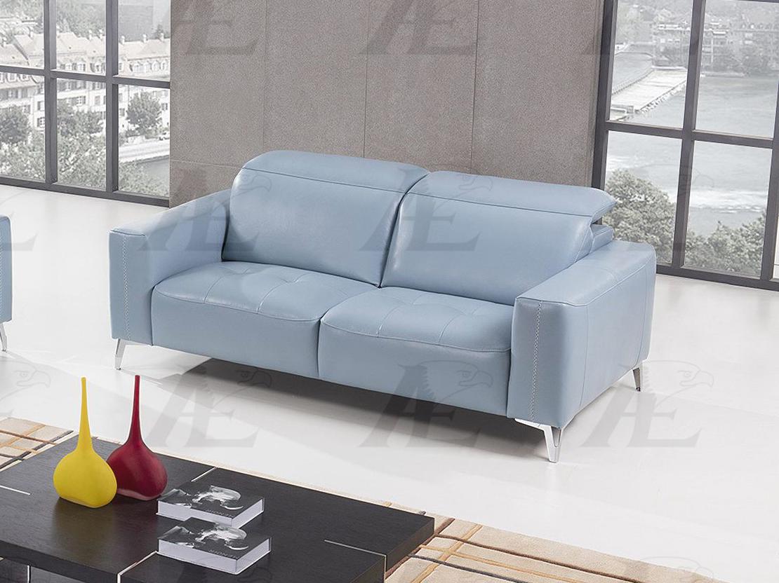 Light Blue Italian Full Leather Sofa
