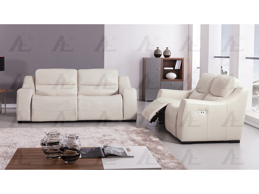 Light Gray Full Italian Leather Recliner Sofa Set