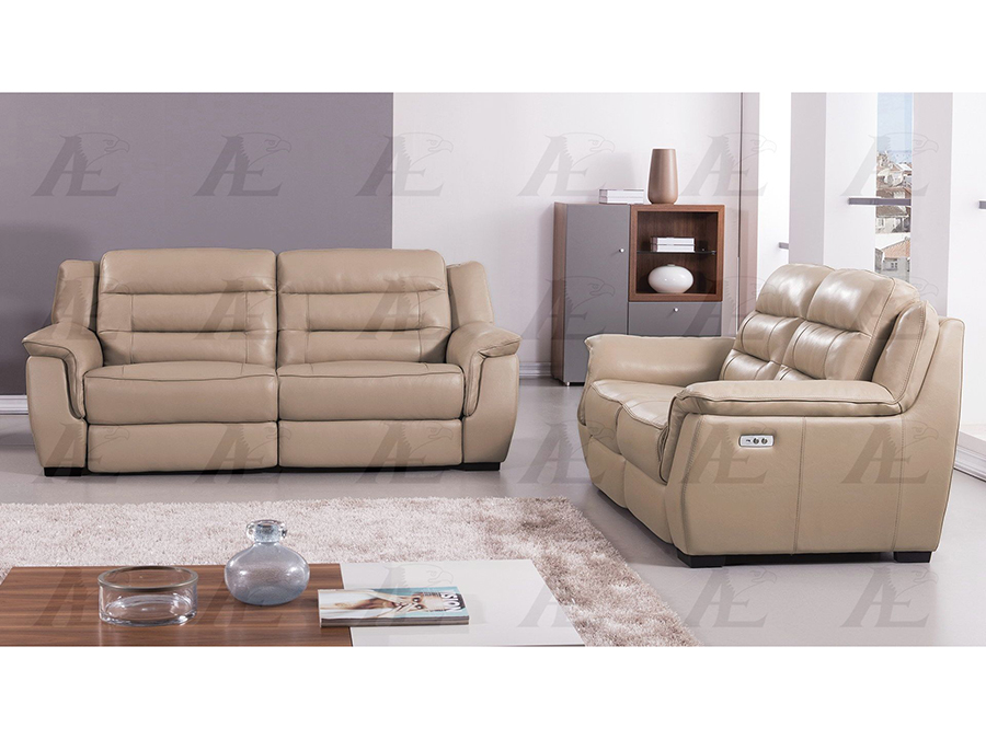 Tan Full Italian Leather Recliner Sofa Set