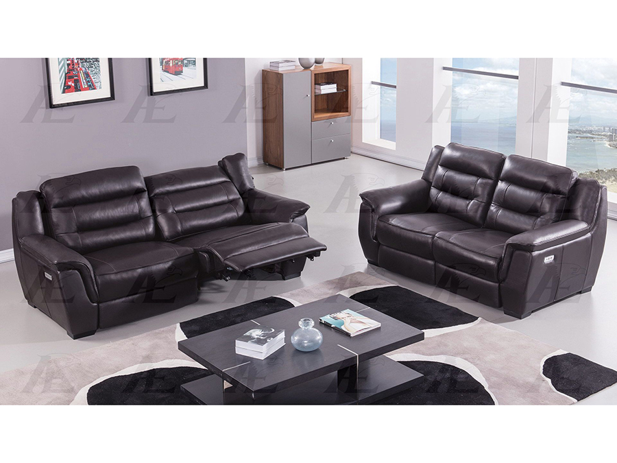 Dark Brown Full Italian Leather Recliner Sofa Set - Shop for ...