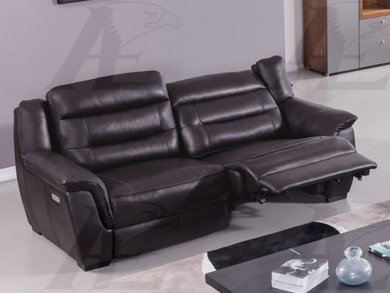 Dark Brown Full Italian Leather Recliner Sofa