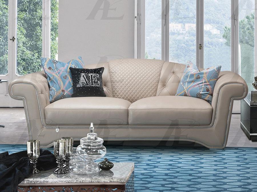 Peach Italian Leather Sofa