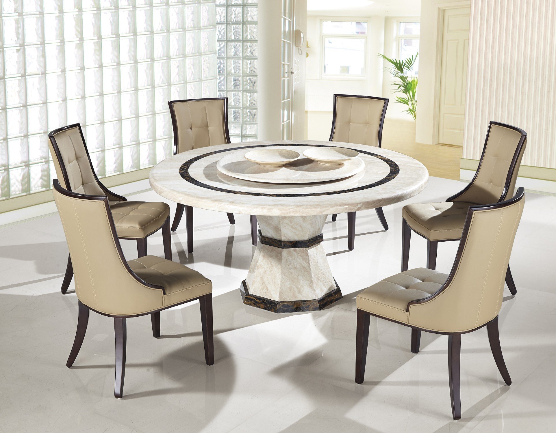 Awesome modern round table and chairs light of dining room for Dining room round table