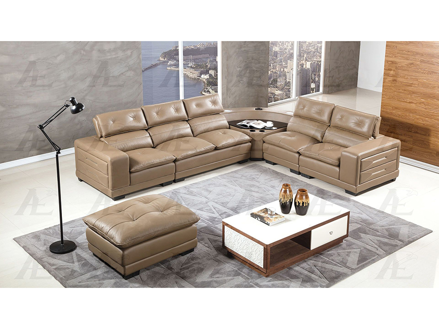 Taupe Leather Speakers Sectional Sofa Set
