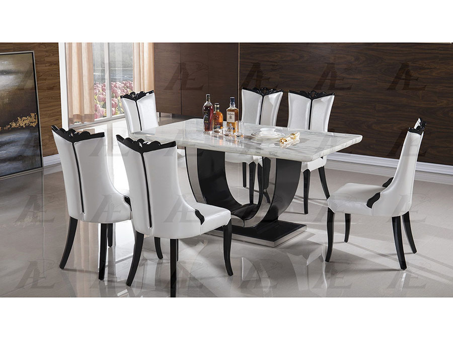 Charmant Gray Marble Top Dining Table Set