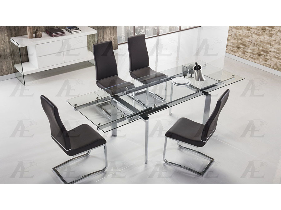 Clear Glass Top Extendable Dining Set