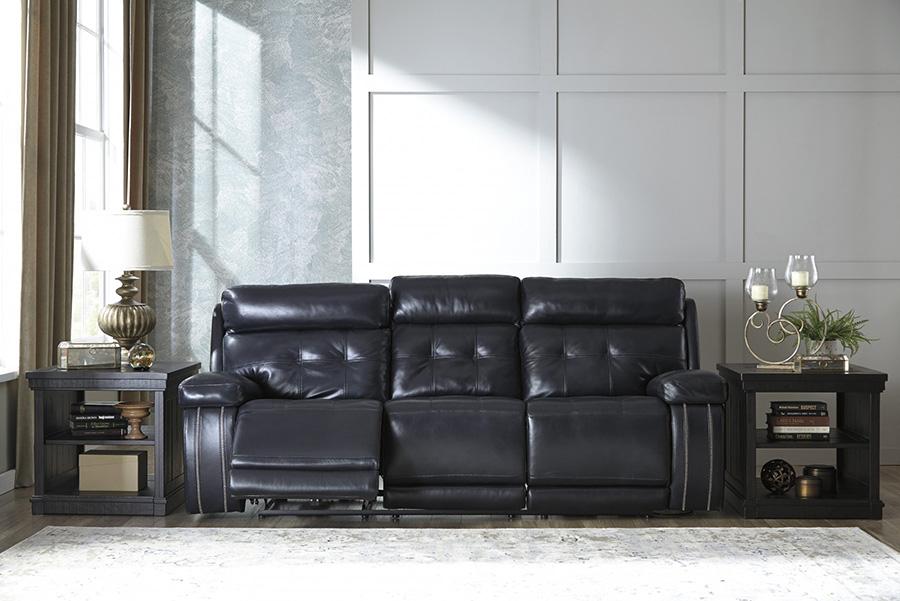 Superb Graford Navy Leather Power Reclining Sofa With Adjustable Headrest Ibusinesslaw Wood Chair Design Ideas Ibusinesslaworg