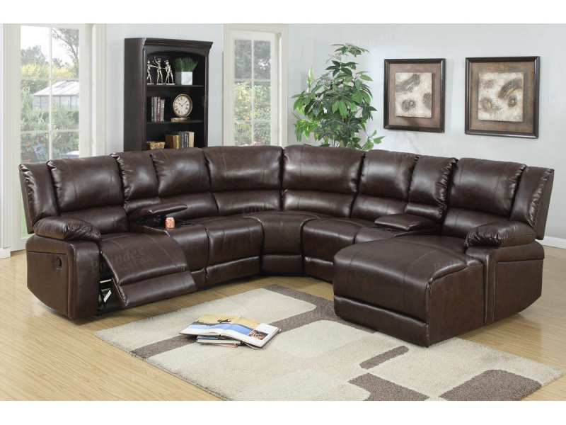 Brown bonded leather motion sectional chaise shop for for Bonded leather chaise