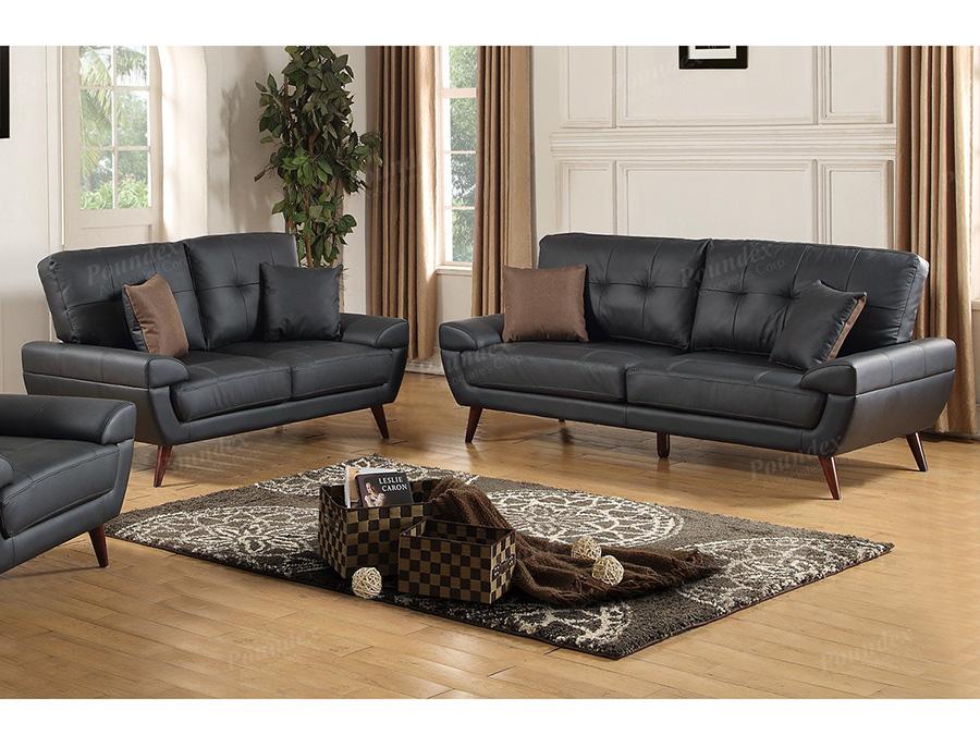 2Pcs Black Bonded Leather Sofa Set - Shop For Affordable Home