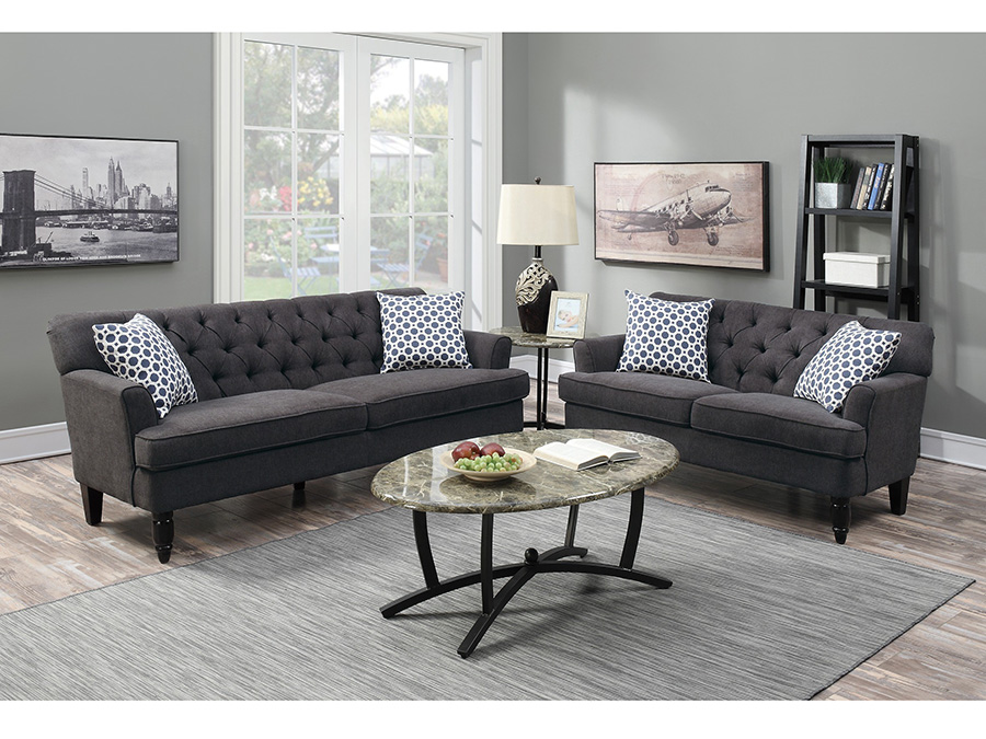 Beau 2Pcs Slate Velveteen Fabric Sofa Set