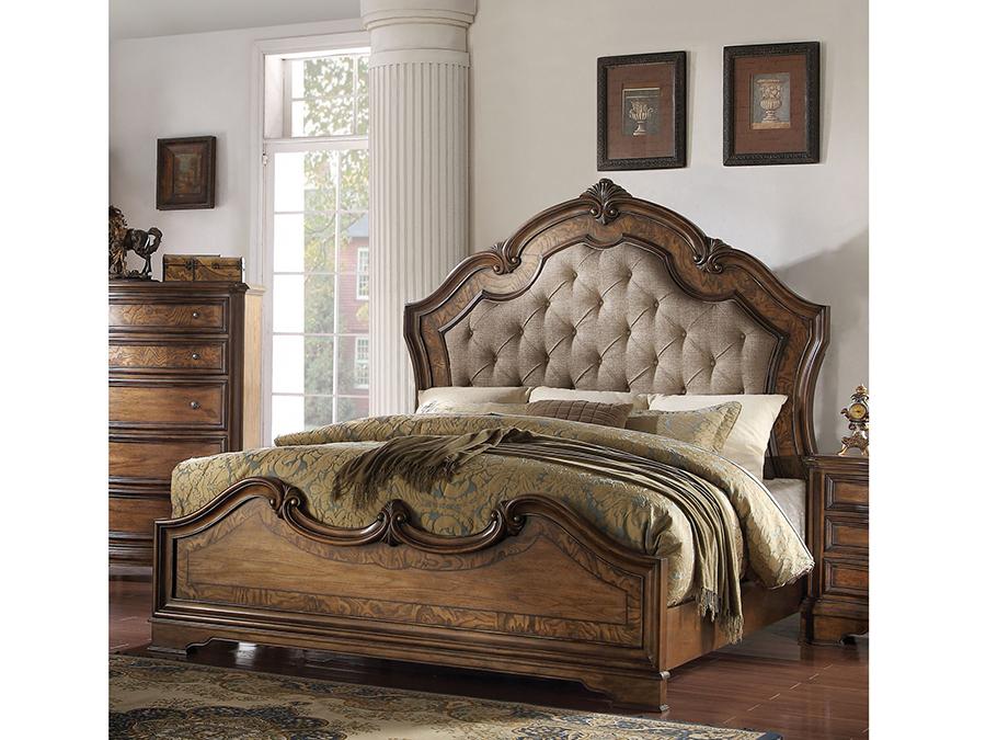 valleta latte oak eking panel bed - King Panel Bed