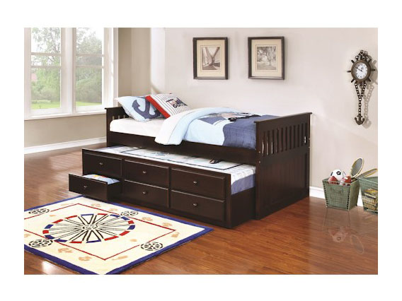 Alvin Cappucino Twin Captain DayBed With Trundle