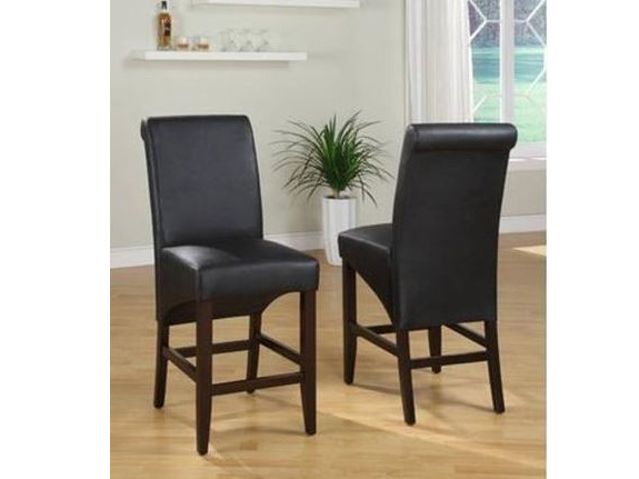2pcs Cosmo Jet Black Pebble Sleigh Back Counter Stool