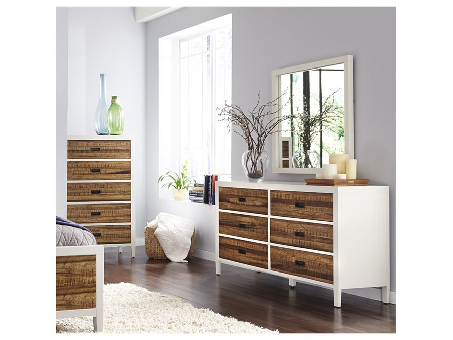Montana White Lacquer And Natural Sengon Dresser