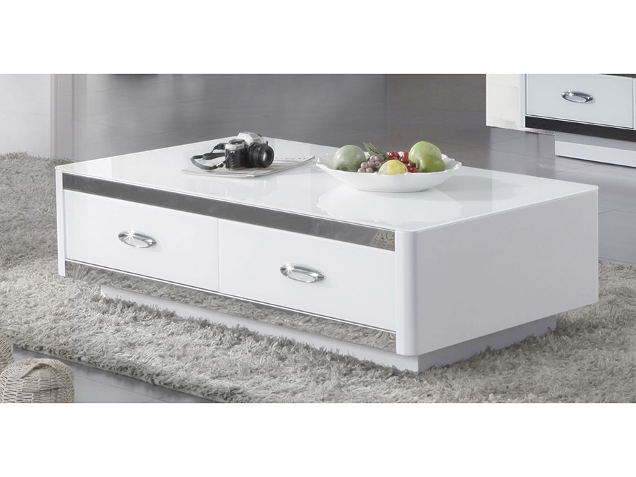 Modern White Coffee Table Drawers