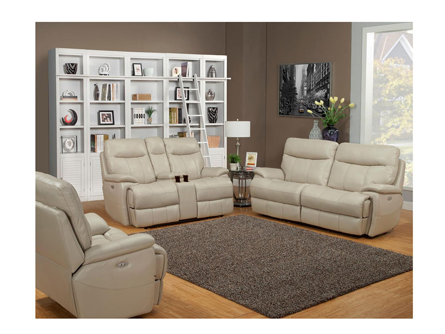 Ledersofa creme  Dylan Crème 2Pcs Power Sofa Set w/ Entertainment Loveseat