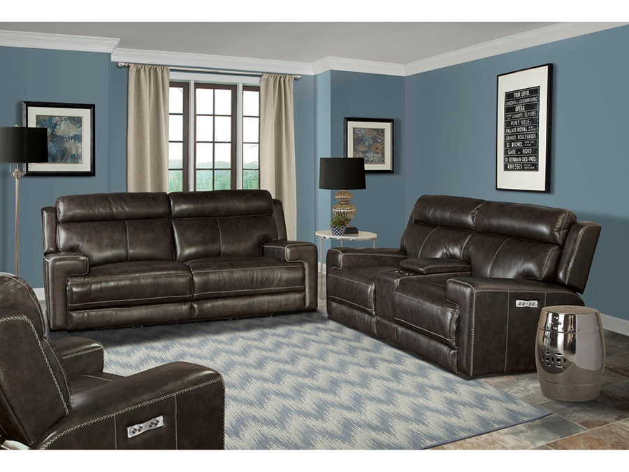 Glacier Collection Graphite Leather 2Pcs Sofa Set