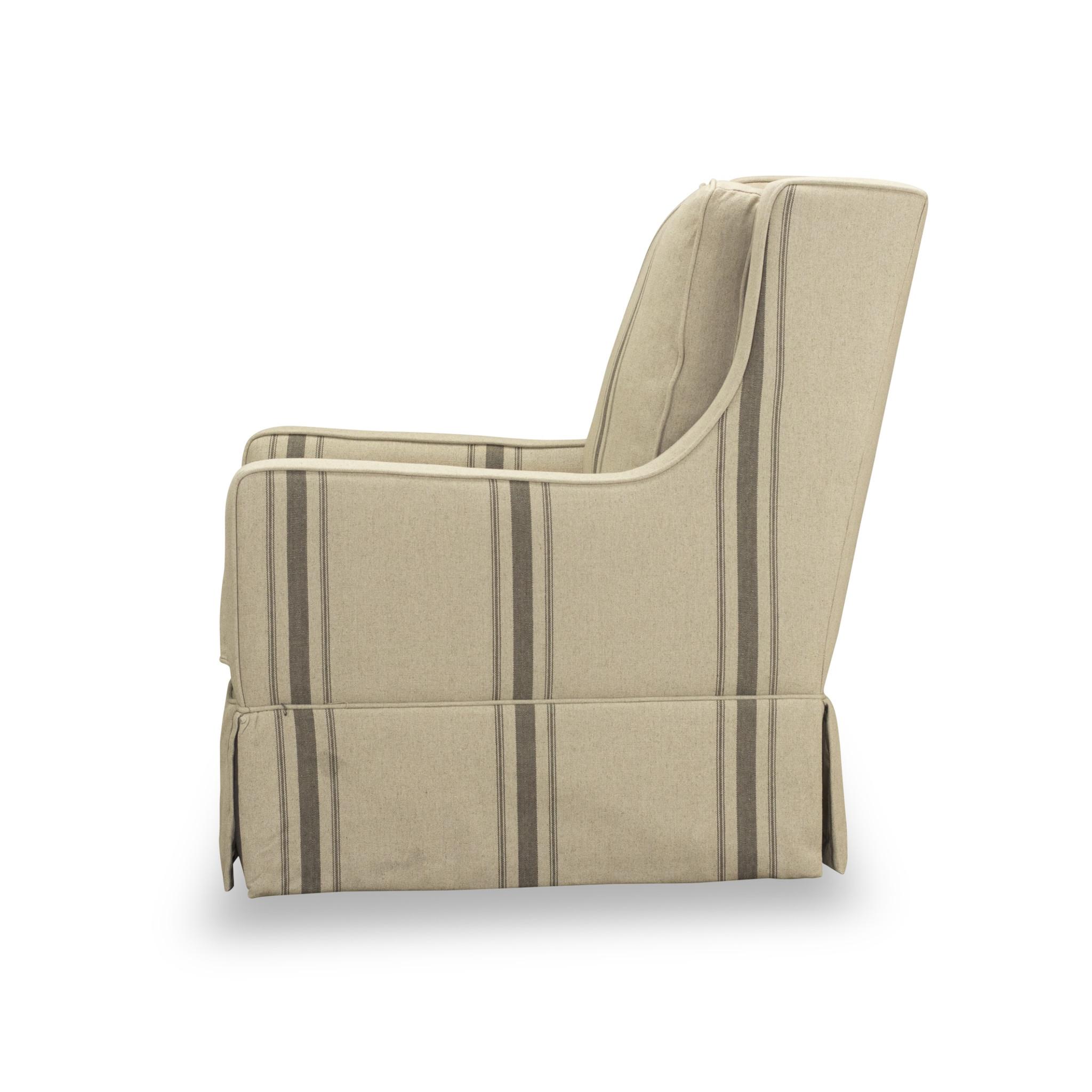 Ecru Stripe Kelly Swivel Chair With Skirt