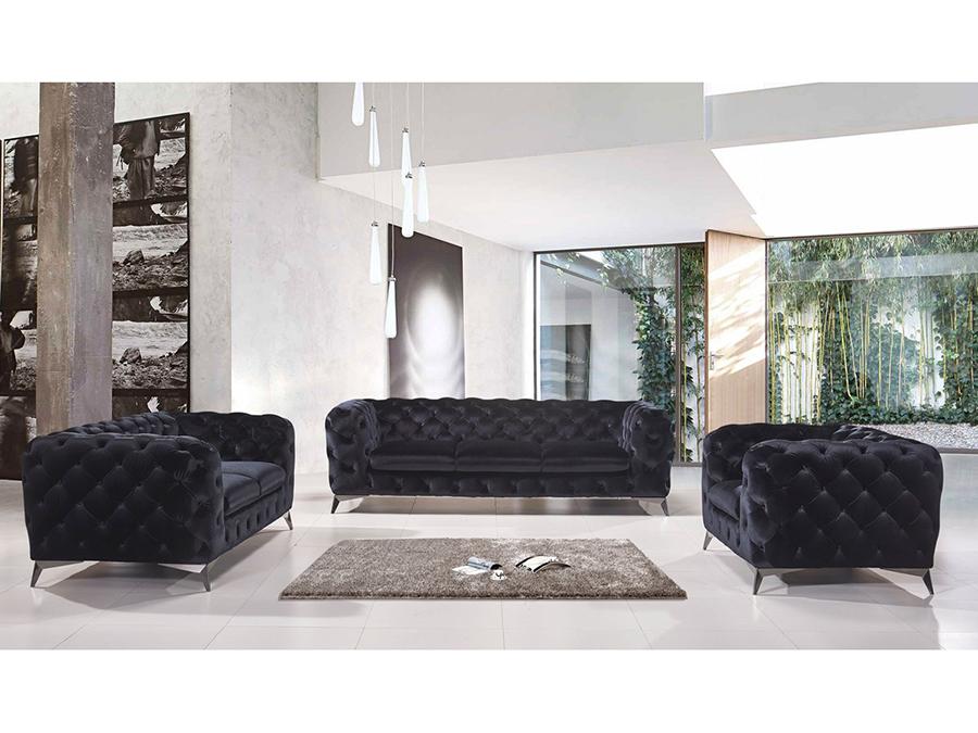 Bradley Black Fabric Sofa Set