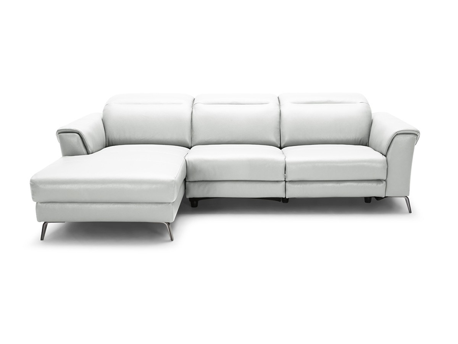 Mosley Modern White Leather Sectional Sofa W/ Recliner