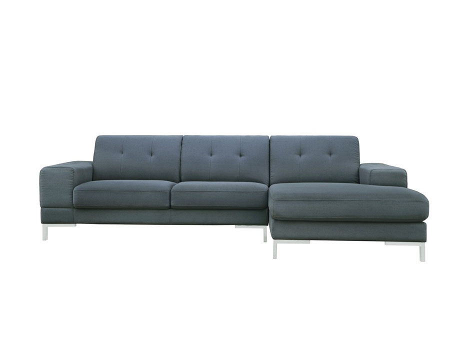 Forli Modern Grey Fabric Sectional Sofa w Right Facing Chaise
