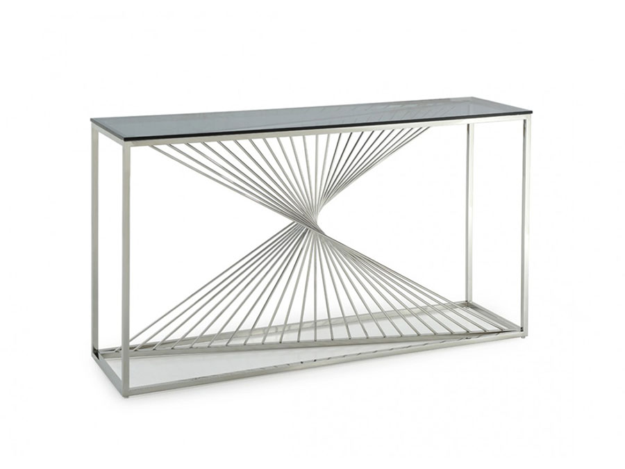 Merveilleux Glass U0026 Stainless Steel Console Table