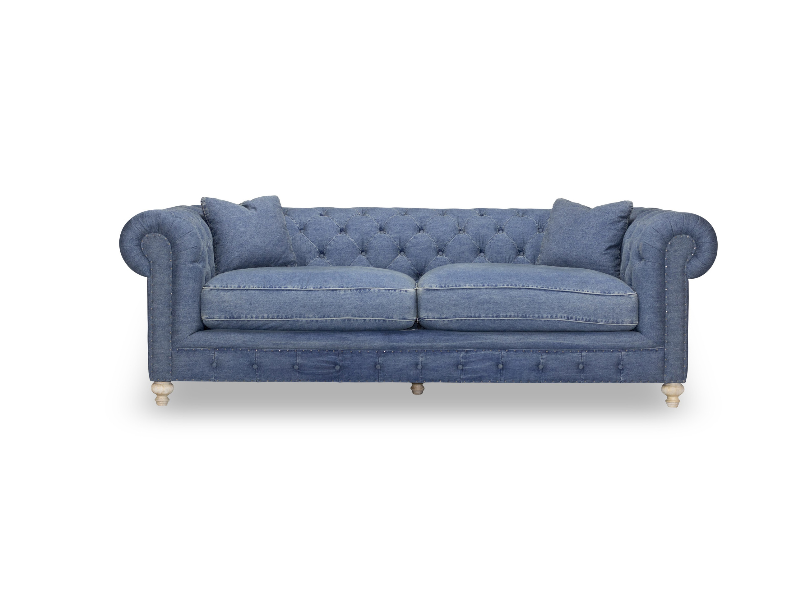 Greenwich Blue Denim 96 Tufted Sofa