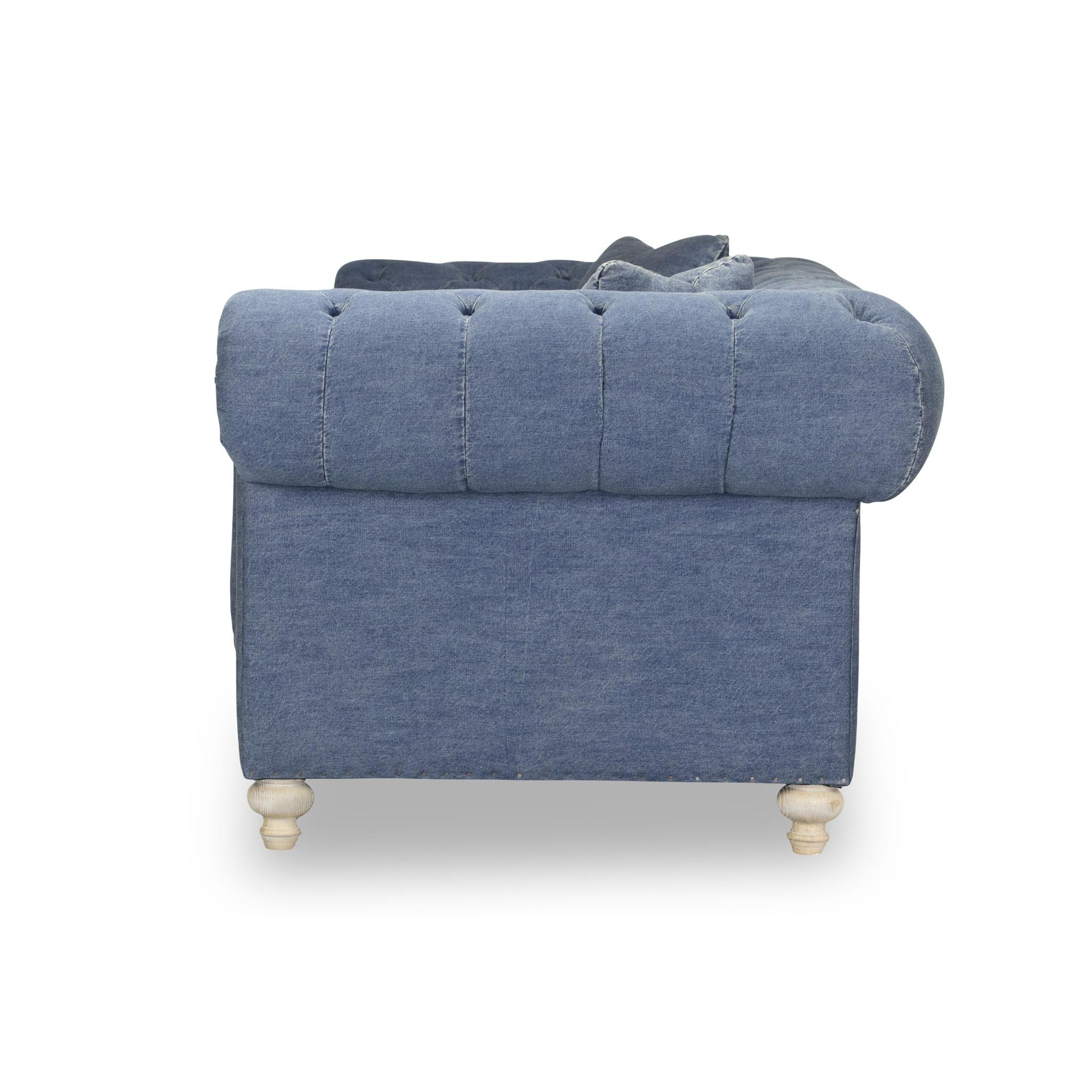Greenwich Blue Denim 96u2033Tufted Sofa