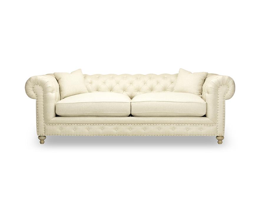 Greenwich Natural Ecru 96 Tufted Sofa