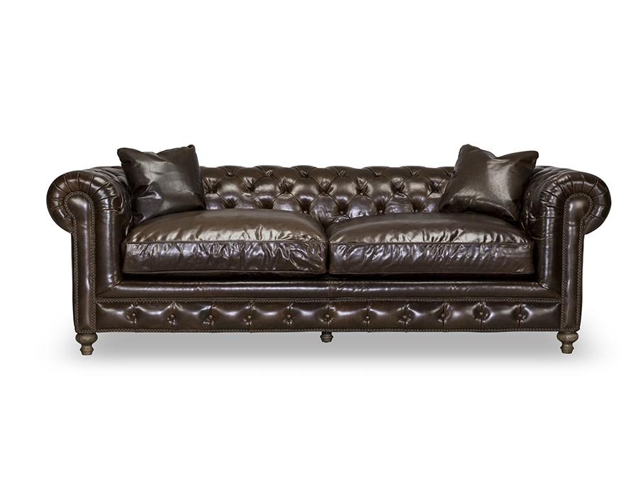 Greenwich Shalimar Cocoa 96 Tufted Sofa