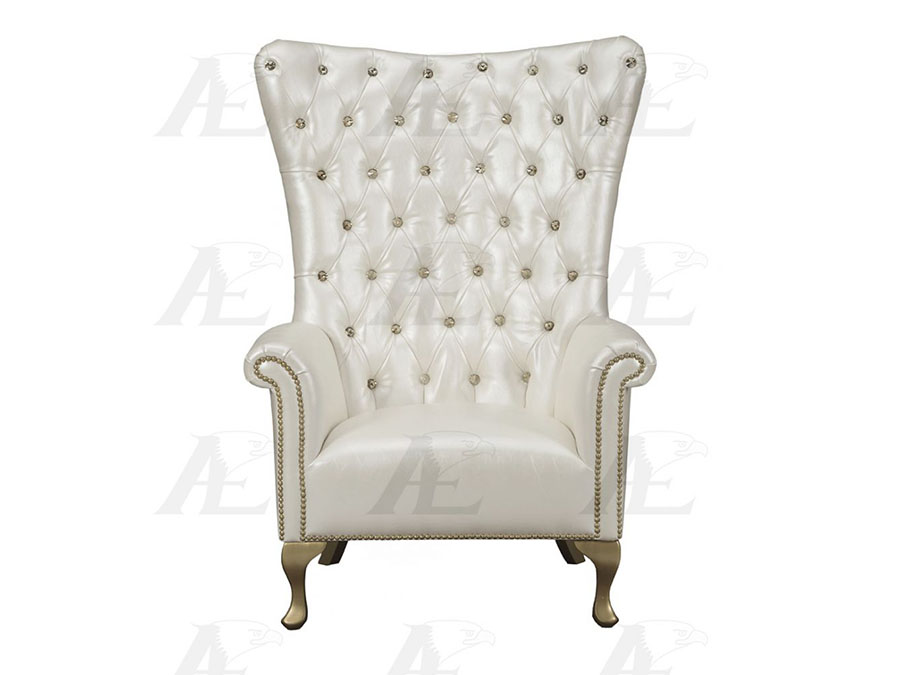 Fantastic Pearl White Genuine Leather Accent Chair Ibusinesslaw Wood Chair Design Ideas Ibusinesslaworg