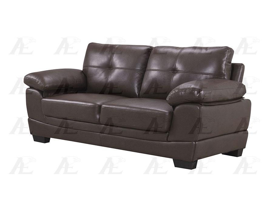 Dark Brown Leather Air Fabric 2Pcs Sofa Set