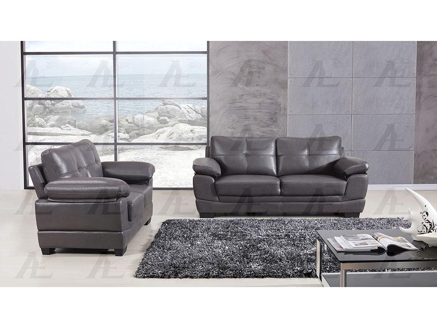 Dark Grey Leather Air Fabric 2pcs Sofa Set