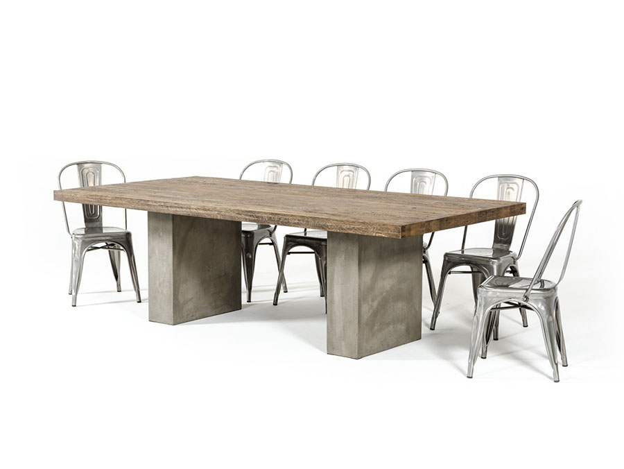 71u2033Bernard Oak U0026 Concrete Dining Set