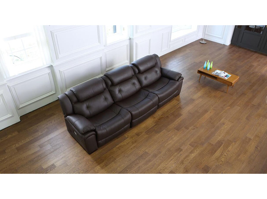 Bevis Brown Leather Sofa W/ Electric Recliners