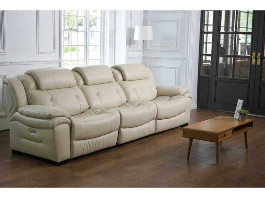 Blaine Ivory Leather Sofa W/ Electric Recliners