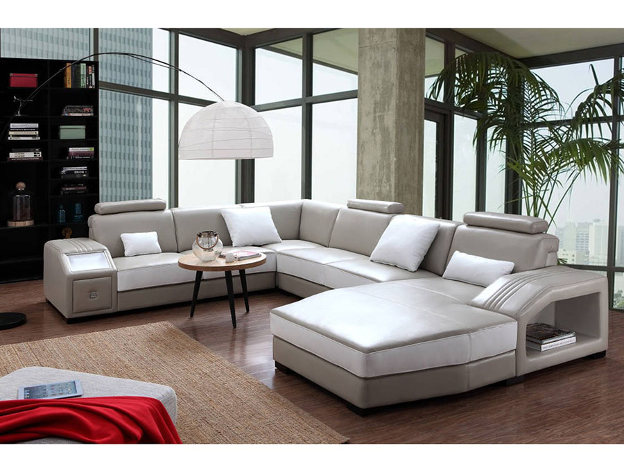 White Leather Sectional Sofa Ottoman