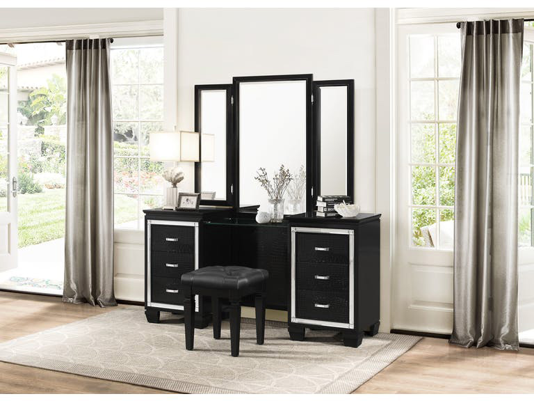 Allura Black Vanity Set