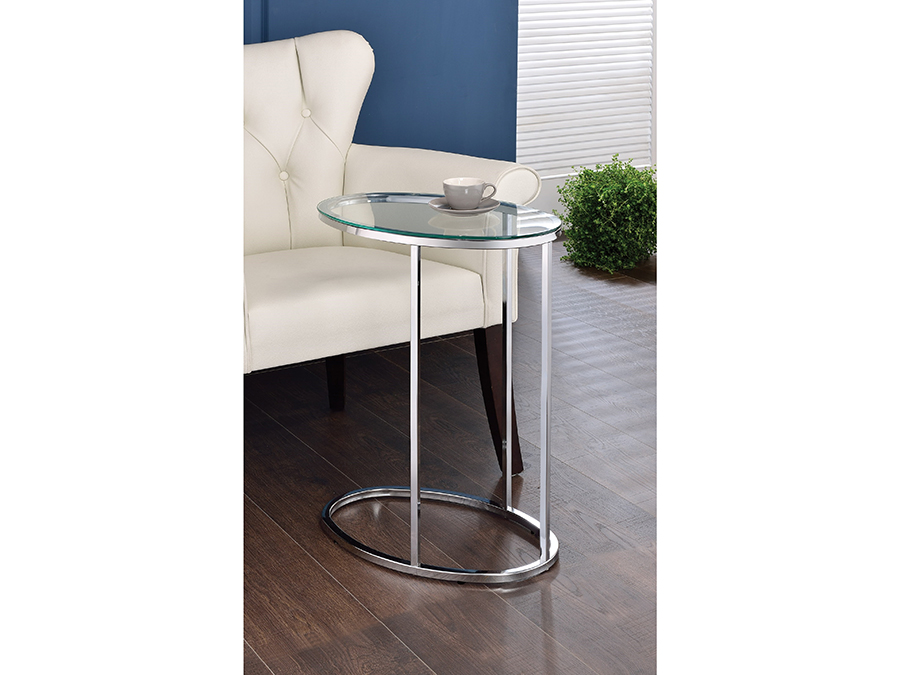 Accent Tables Glass Top Contemporary Snack Table
