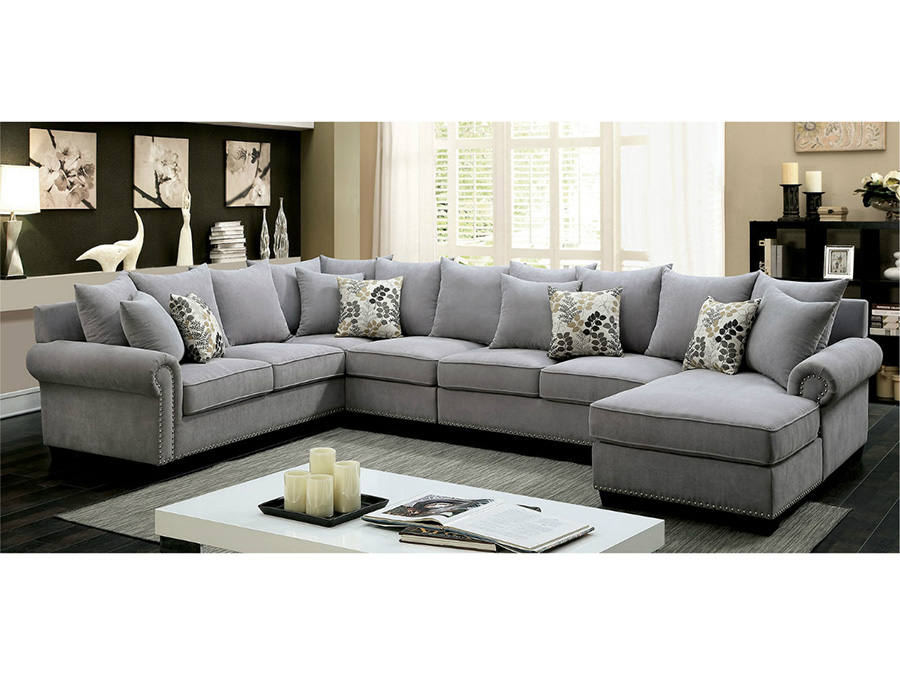 Skyler Transitional Gray Fabric Sectional Sofa Couch