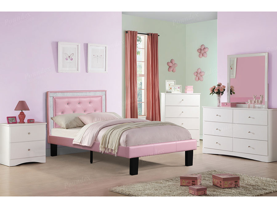 Faux Leather Twin Bed In Pink