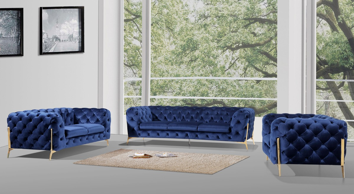 Dark Blue Fabric Sofa Set - Shop for Affordable Home Furniture ...