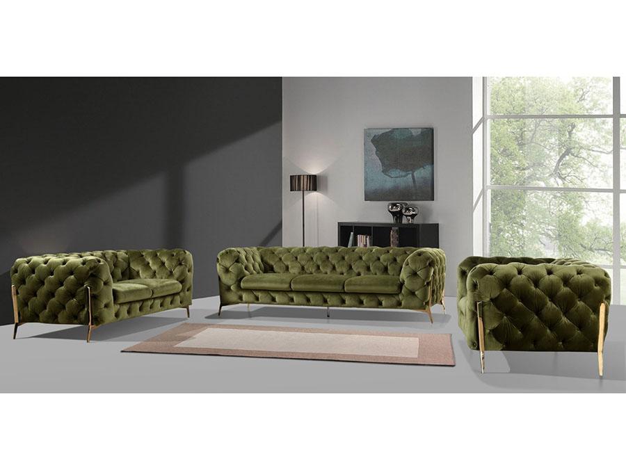 Green Fabric Sofa Set