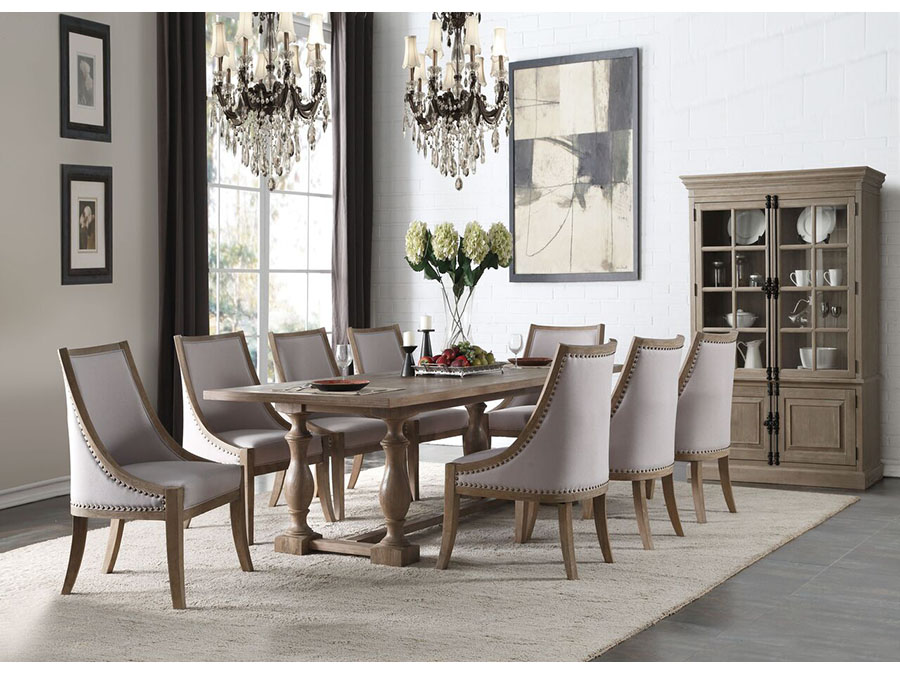 Eleonore Dining Set In Weathered Oak