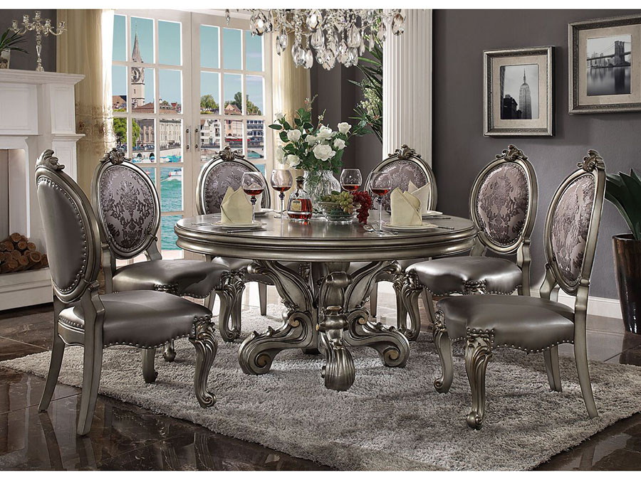 Versailles Antique Platinum Round Dining Set Shop For