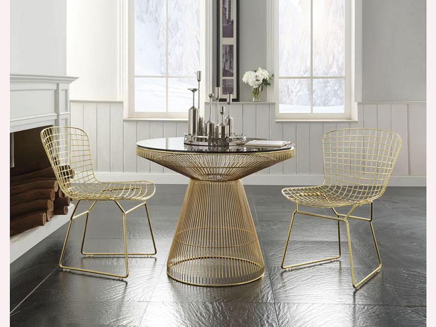 Rasia Gold Glass Top Metal Dining Set