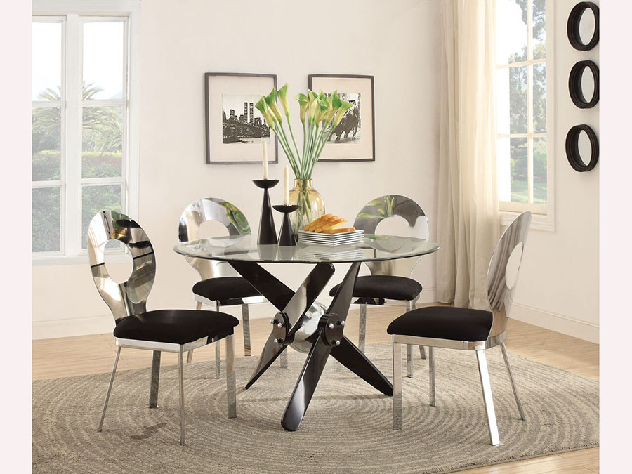 Hagelin Round Dining Set In Black/Chrome